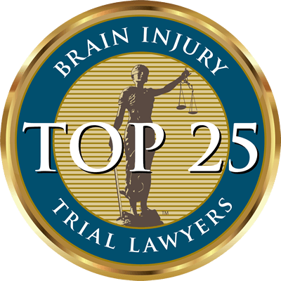 BRAIN INJURY TOP 25 TRIAL LAWYERS This premier organization recognizes, by invitation only, the Top 25 brain injury lawyers in each state for their superior qualifications for leadership, reputation, influence, and performance.